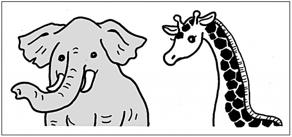 象とキリンの図