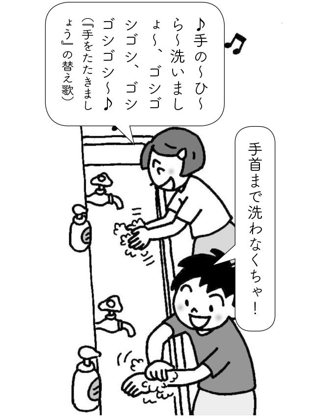 手洗いする子供たち