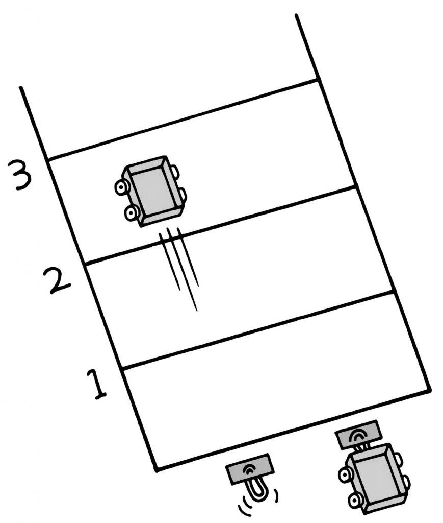 実験を行う教室にテープで線をひく