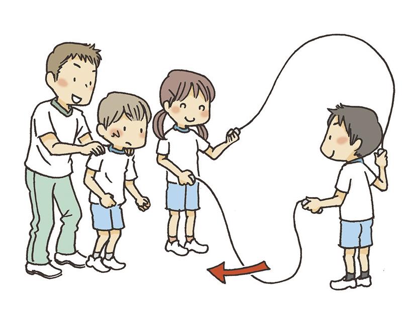 ①教師は軽く子供の体を押さえて「1、2、3」とカウントします。