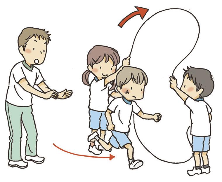 ②ロープが上がったタイミングで教師は子供を押し出すようにします。