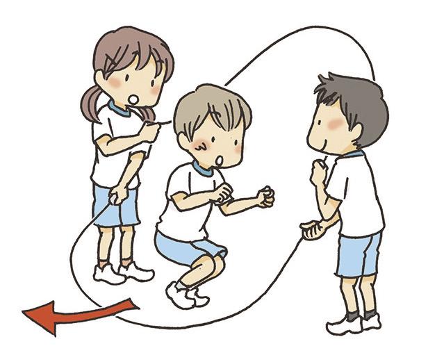 ③ジャンパーは、1回目のジャンプを低く跳び、すぐに2回目のジャンプの準備に入ります。
