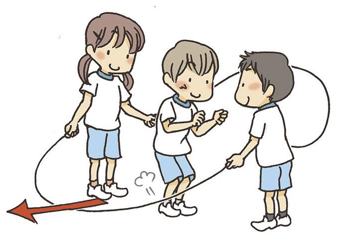 ⑤ターナーは、ジャンパーがジャンプしたら、ロープをすばやく足の下に通します。
