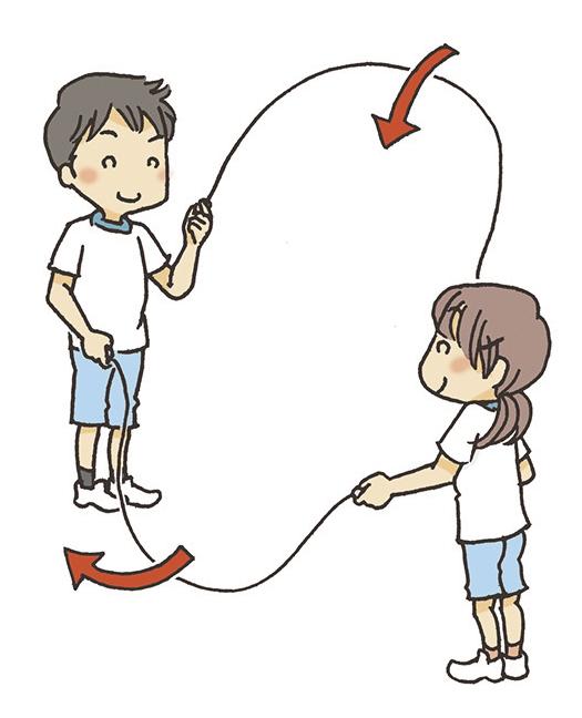 ④ロープが地面に触れるくらいの間隔にします。
