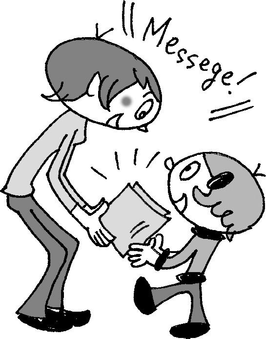 通知表を渡す教師と子供