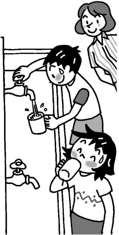 水を飲む子