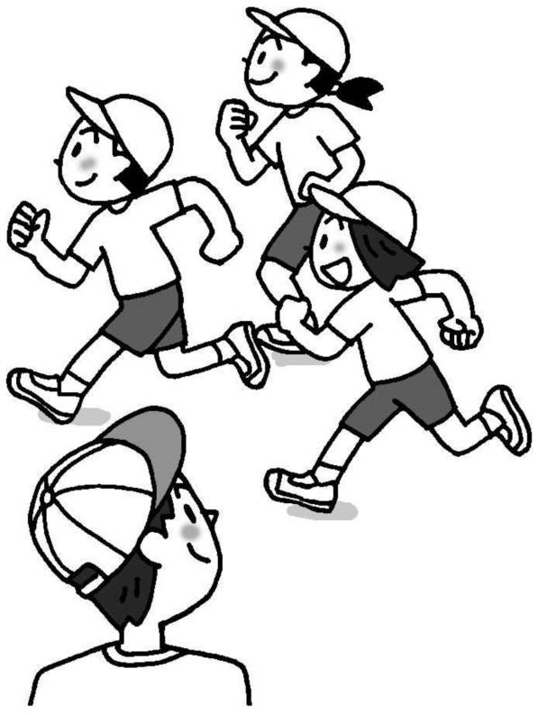 運動をする子を見ている教師