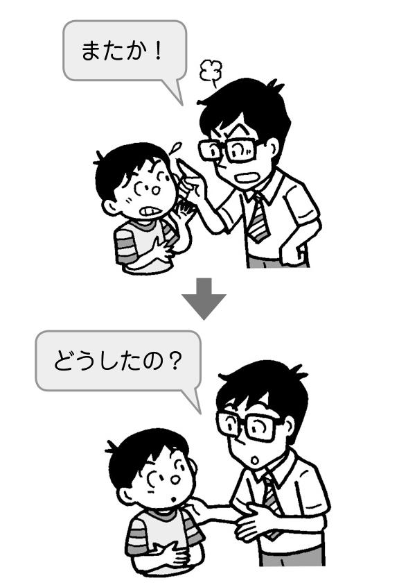 怒る教師 → 心配する教師
