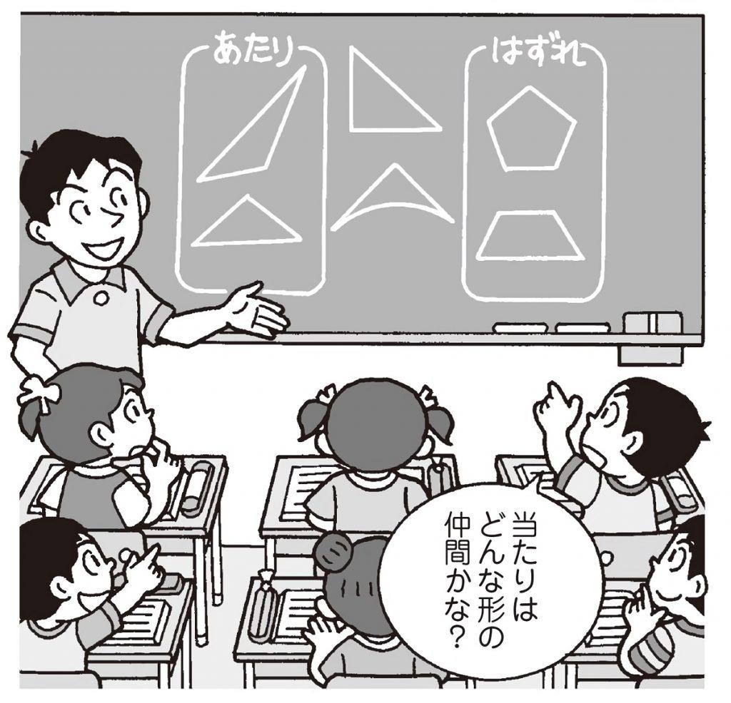 二年「三角形と四角形」の学習で、「形くじ引き」をしている子供たちのイラスト。