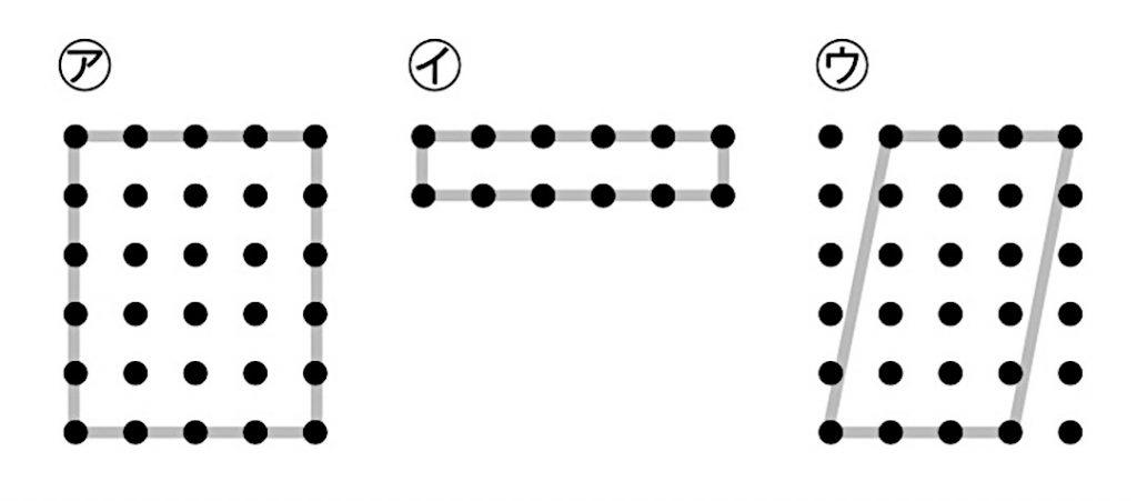 点と点をつないでかかれた3つの四角形