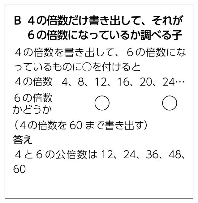 B 4の倍数だけ書き出して、それが 6の倍数になっているか調べる子