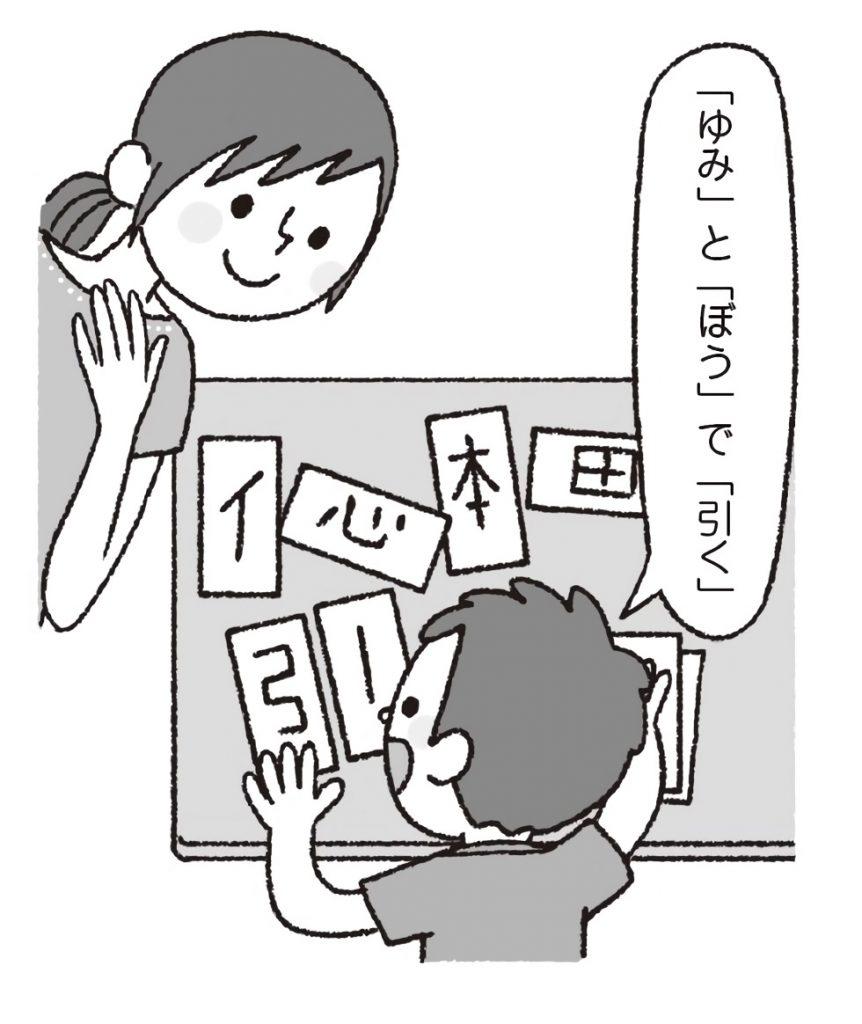 漢字の部品カードを組み合わせて、漢字を完成させ、漢字の学習をする子供。