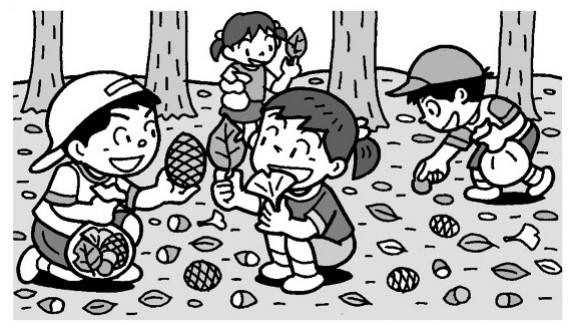落ち葉や松ぼっくりなどを拾う子供たち