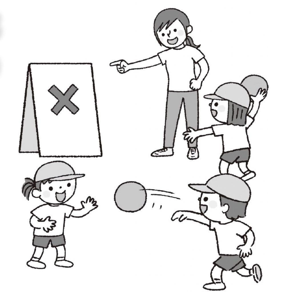 ボールを使った運動が苦手な子に、的に向かって投げるよう特別支援をしている先生。