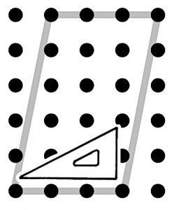 ウの図に三角定規を置いている様子