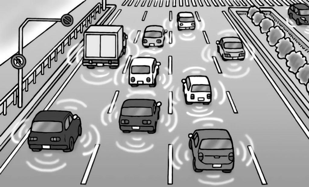 車間を検知する自動車のイメージ