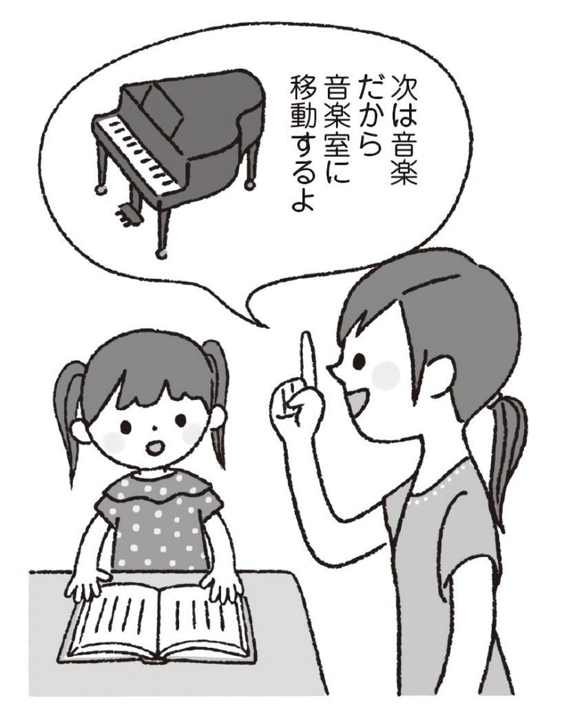先生が、こだわりの強い女児に、「次は音楽だから、音楽室に移動するよ」と予告しているイラスト。