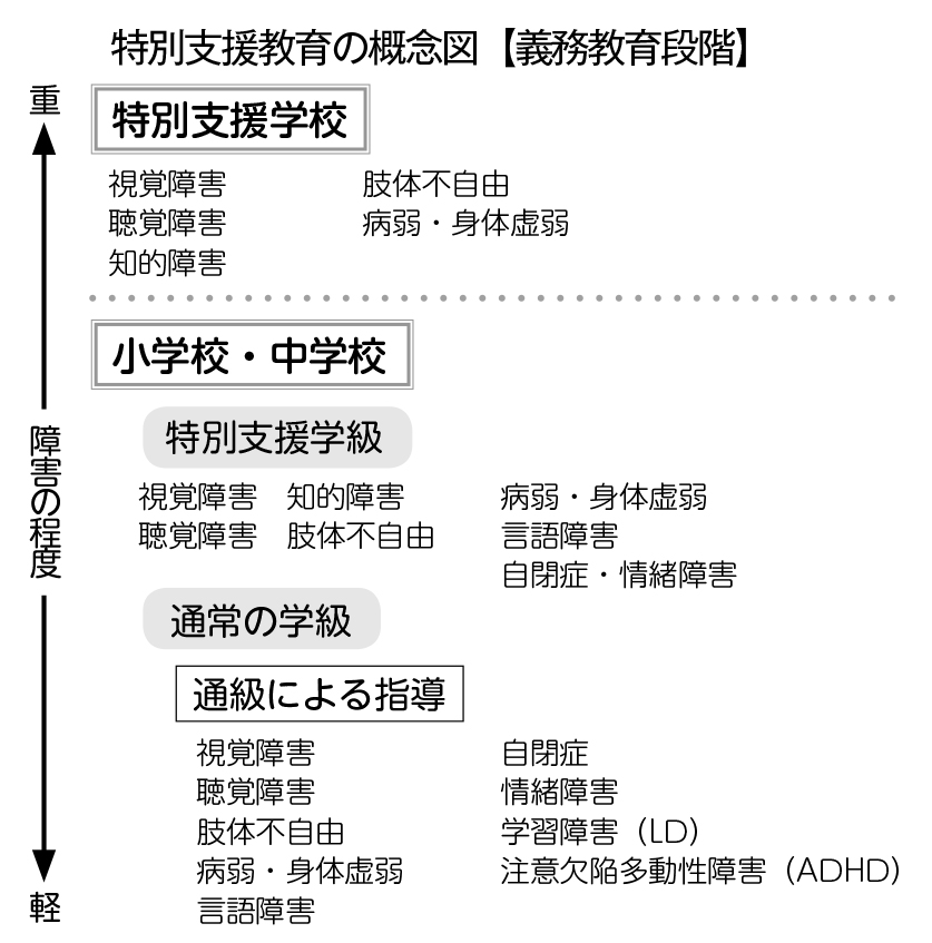 特別支援教育の概念図(義務教育段階)