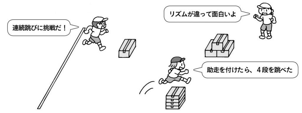 段ボール跳び遊び