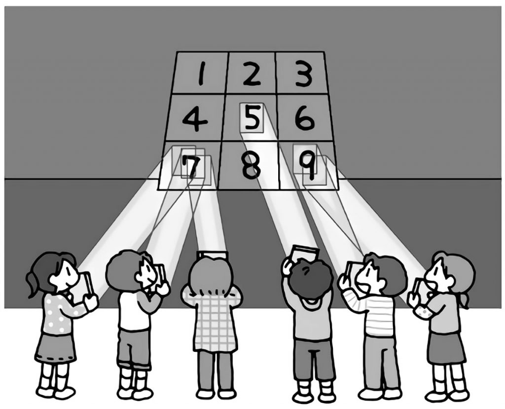 光で的当てゲーム(グループで)