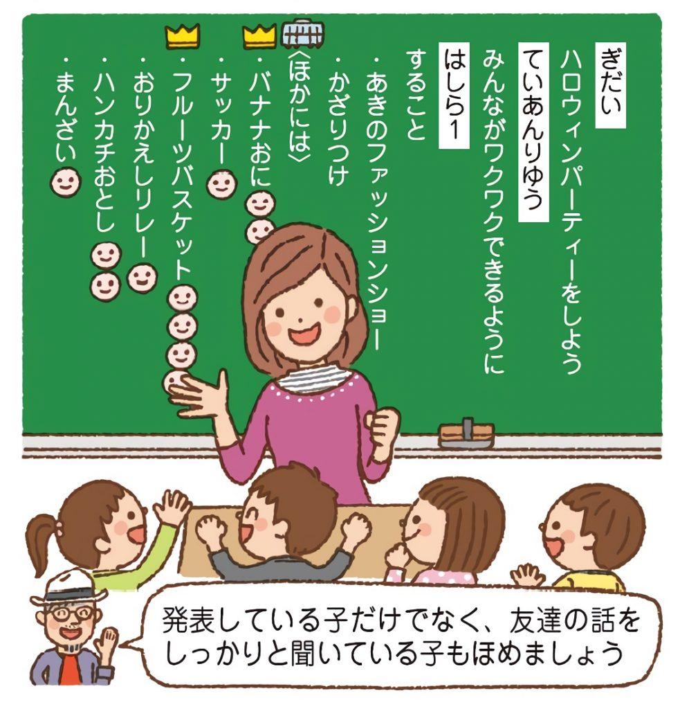 「黒板セット」などのグッズを使って、学級会の進行をする学級担任。子供たちの話合いが活発になるうえ、グッズにも興味津々。