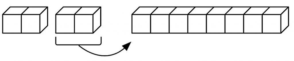 12個のブロックを使用して、解答を説明する様子