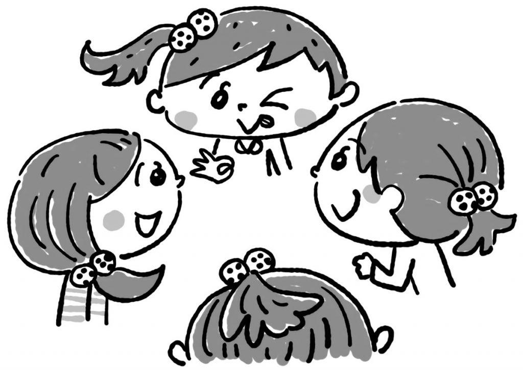 お揃いの髪ゴムをつけた女子グループ